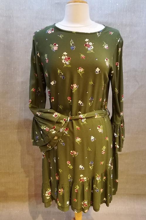 Robe fleurie fond vert Md'M