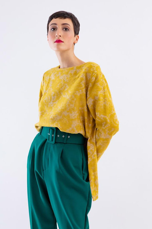 Pull dentelle jaune  Made in sens