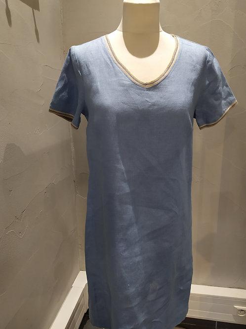 Robe 100% lin uni Bleu LA FEE MARABOUTEE