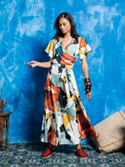 Robe longue croisée imprimée fleurs  MD'M