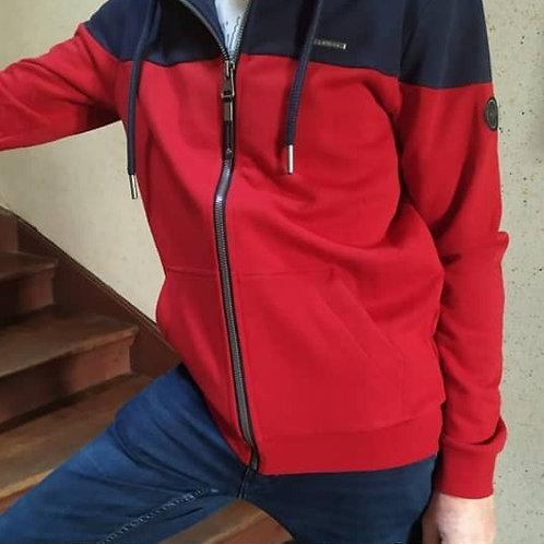 Veste sweat bicolore rouge marine Tommie Ragwear