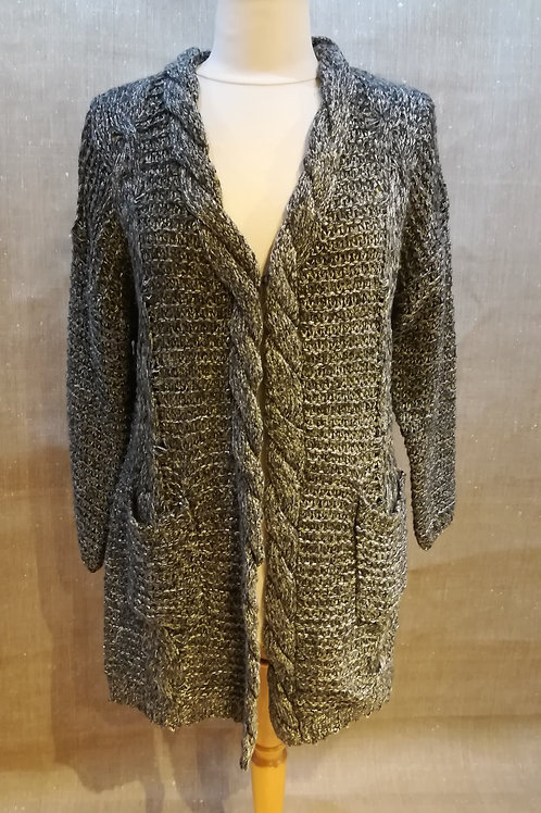 Gilet long gris et lurex Molly Bracken
