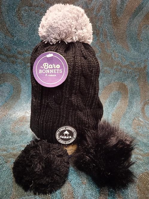Creamy gin black 1 Bonnet +3 pompons CABAIA