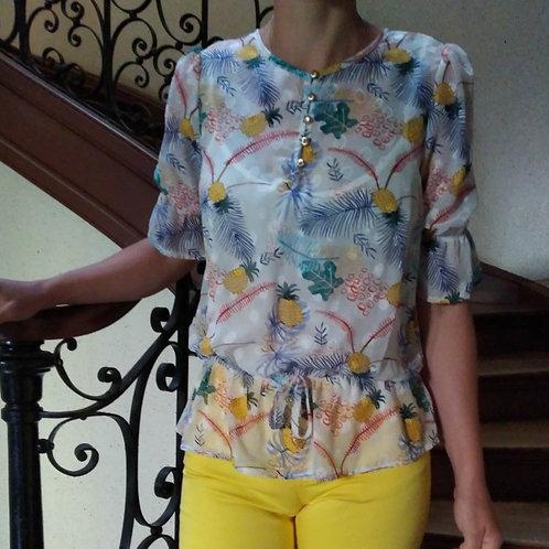 Blouse  multicouleurs motifs ananas  Gaudi Jeans