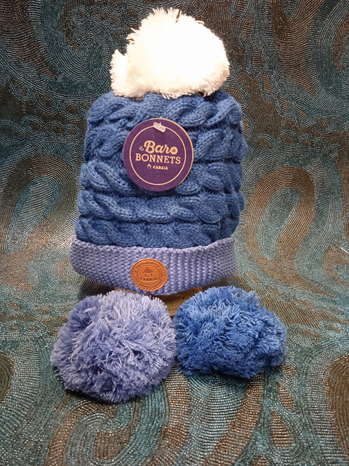 Black velvet blue 1 Bonnet +3 pompons CABAIA