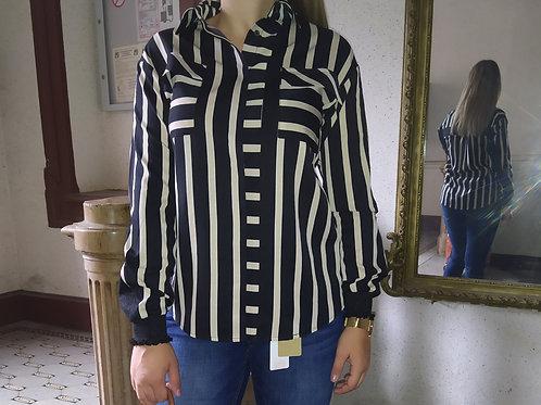 Chemise rayée beige et noir nü