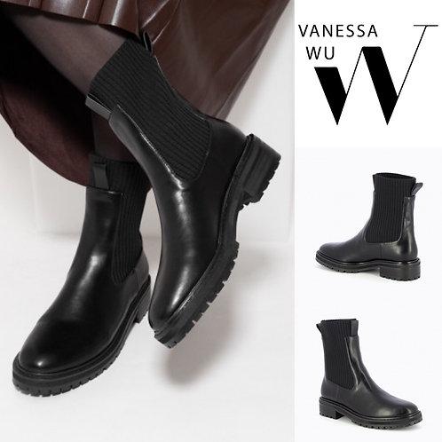 Bottines chaussettes noires en maille côtelée Vanessa WU