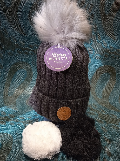 Kir Royal grey 1 Bonnet +3 pompons CABAIA