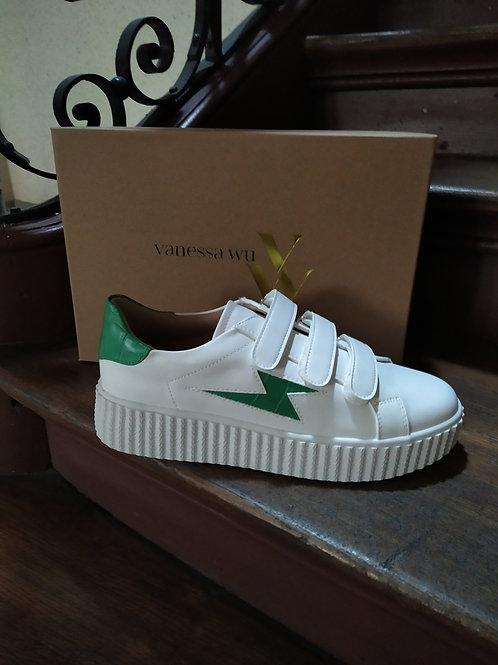 Basket éclair blanche et verte Vanessa WU