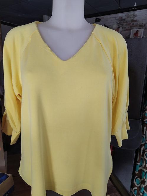 Tee shirt jaune col V MD'M