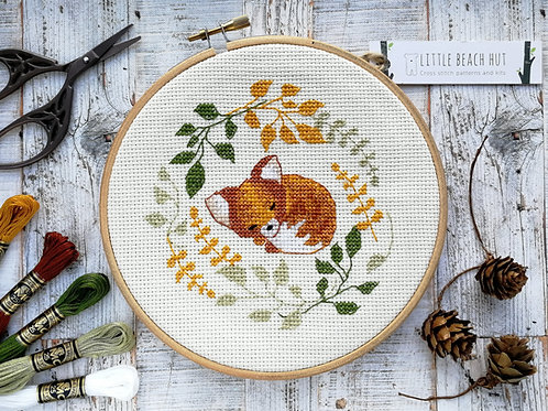 Sleepy Fox Cross Stitch Kit