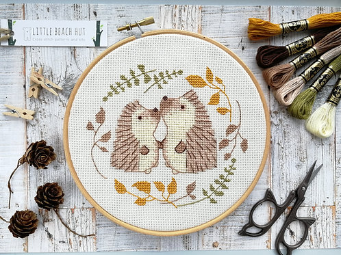 Hogs and kisses, hedgehog cross stitch kit, embroidery kit, wedding gifts