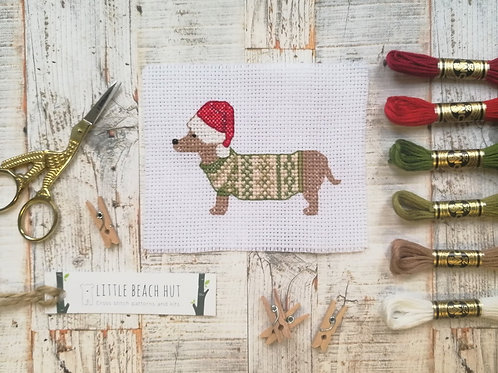 Festive Sausage Cross Stitch Kit