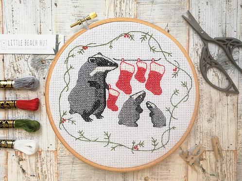 Christmas Badgers Cross Stitch Kit