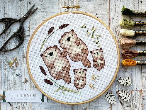 Otter Love Family Cross Stitch Kit