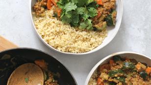 Miglio con verdure e lenticchie al latte di cocco e curry