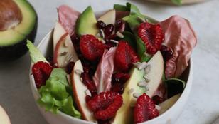 Insalata di radicchio rosa con avocado, lamponi e mela
