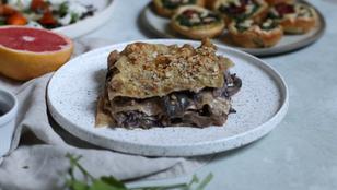 Lasagne vegane con radicchio, funghi e noci