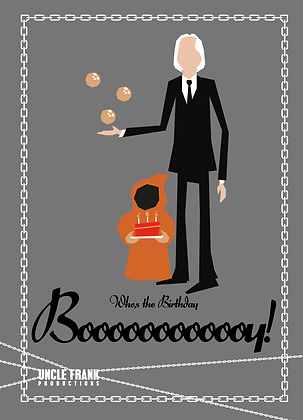 "037 TALL MAN Greetings Card ""BOOOOY"""