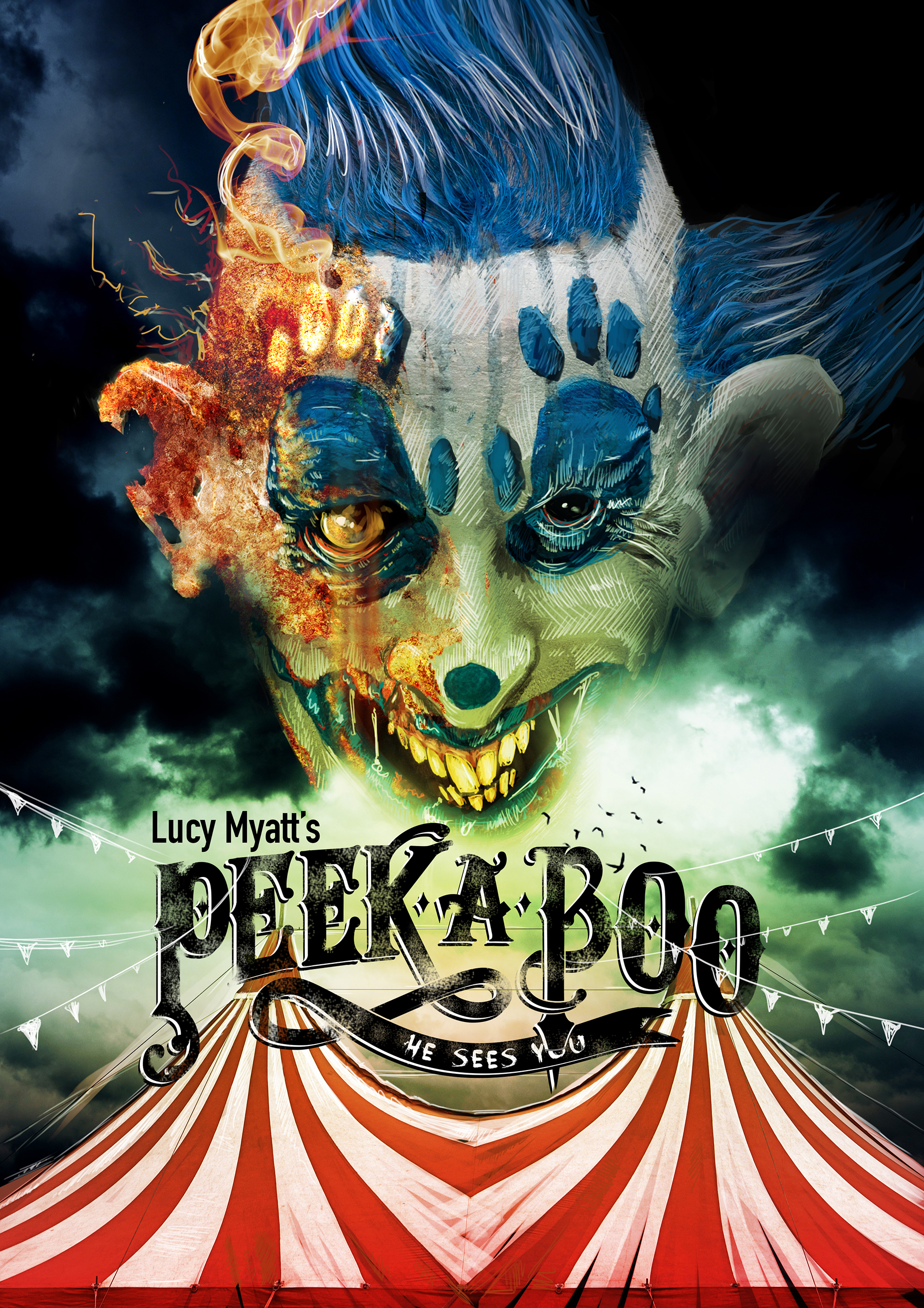 Peek A Boo horror clown cover