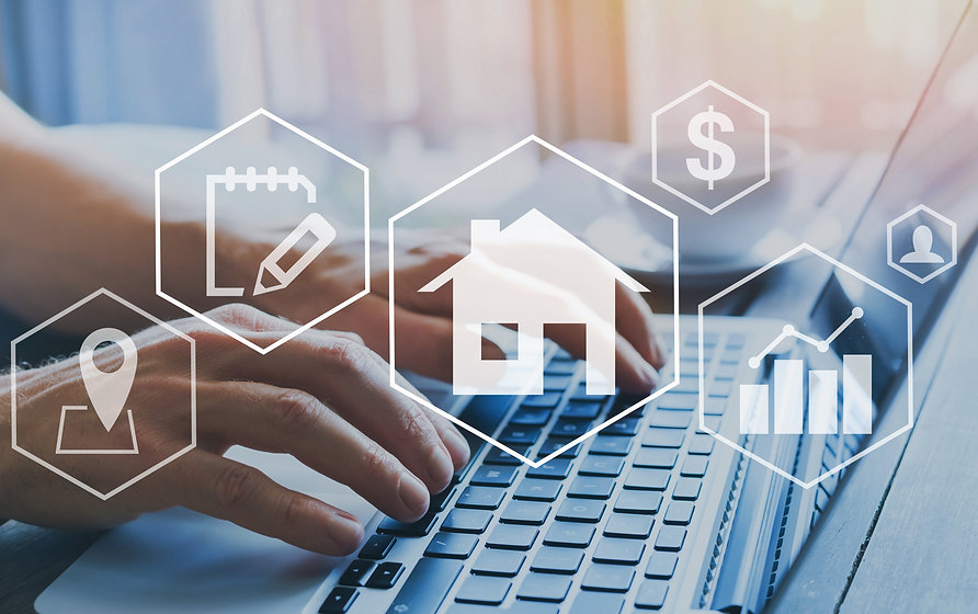 real estate concept, property value diagram, hands typing on computer as background, buy a