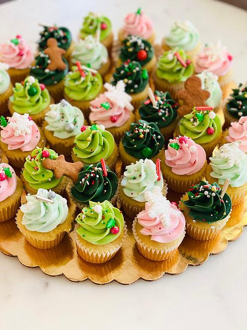 Mini Cupcake Christmas Party Tray