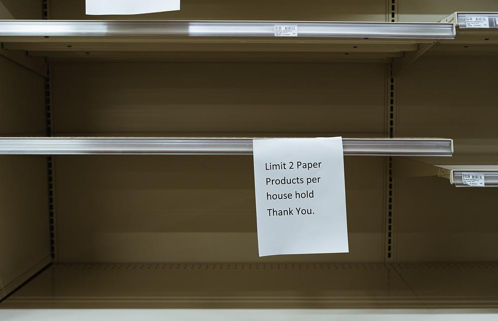 Coronaeinschränkung im Einkauf von Massenprodukten - Limit 2 Paper Products per house hold.