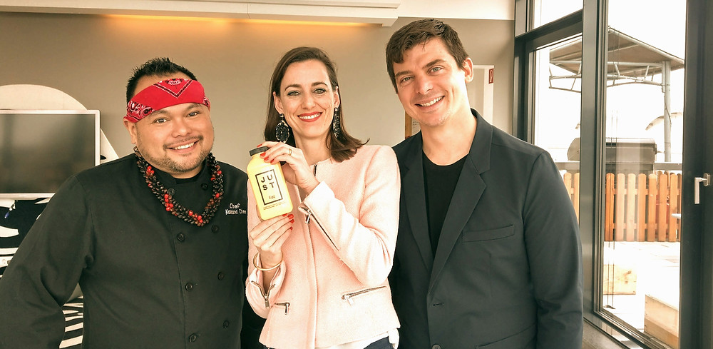 Simone with Josh (right) and Kaimana Chee (left), JUST's chef who prepared delicious dishes with JUST egg.