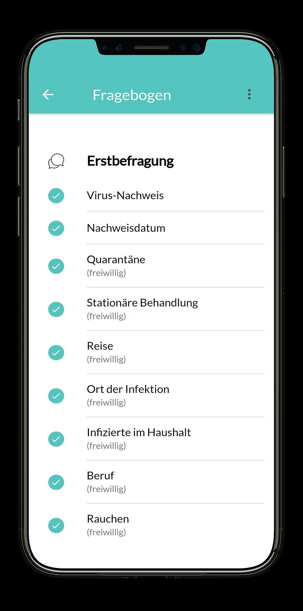 Bildschirmfoto der App von MillionFriends für positiv getestete SARS-CoV-2 Patienten