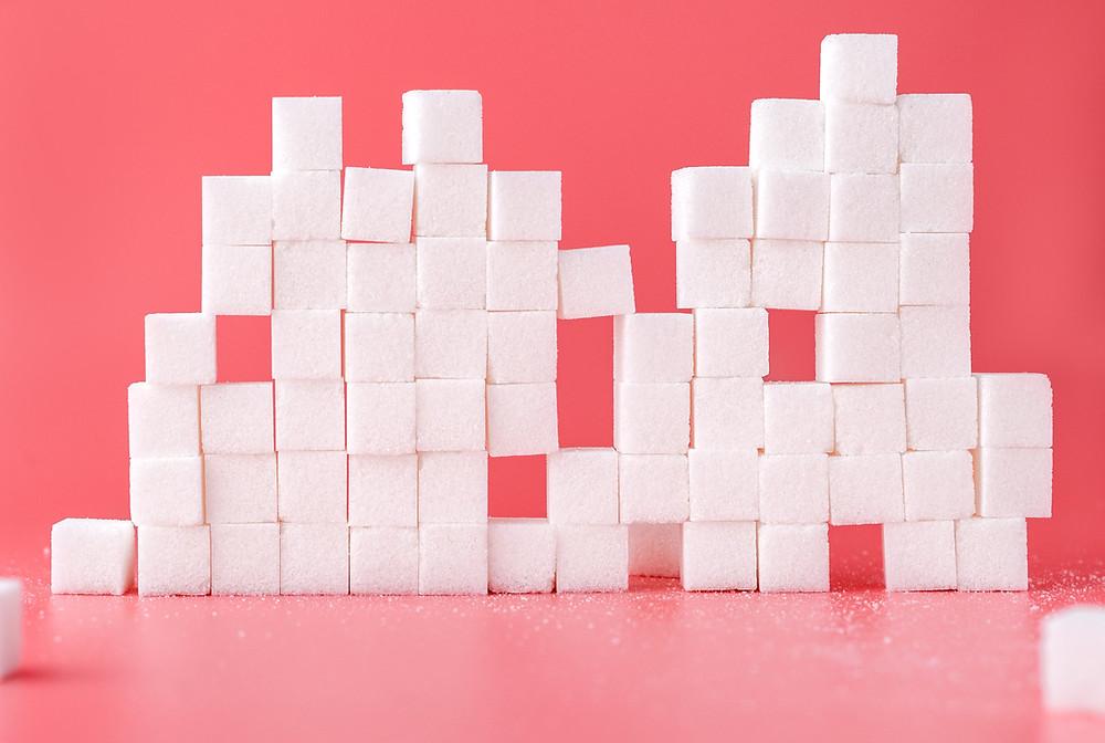 Zuckersteine aufeinandergestapelt