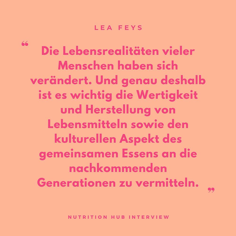 Zitat von Lena Feys zur Herstellung von Lebensmitteln