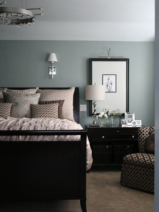 A blue-gray bedroom paint job is one of our favorite choices.