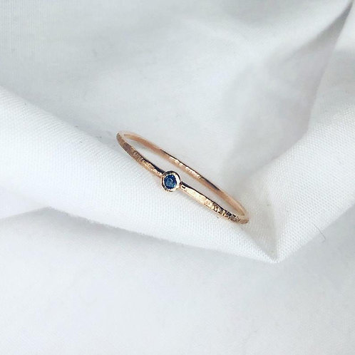 Rose Gold and Sapphire textures bezel ring. Autumn leaf inspired, nature, woodla