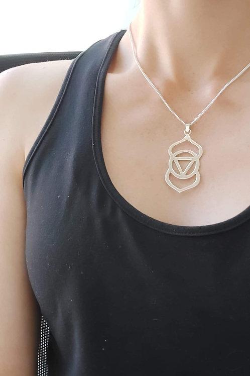 Silver Third Eye Chakra necklace. Medium Pendent, yoga, spiritual, third eye awa
