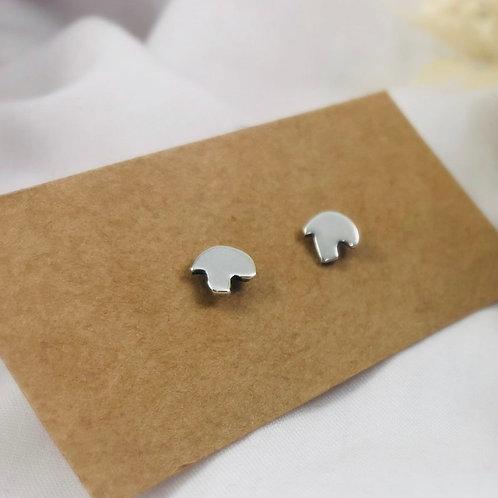 Solid silver tiny Mushroom stud earrings. Autumn, harvest, fall, studs, cute, ec