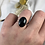 Thumbnail: Large Oval Onyx Silver Ring, heavy band ring. Statement. Large stone ring