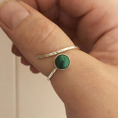 Silver Malachite adjustable textured stacker ring. Thin ring statement Art Deco