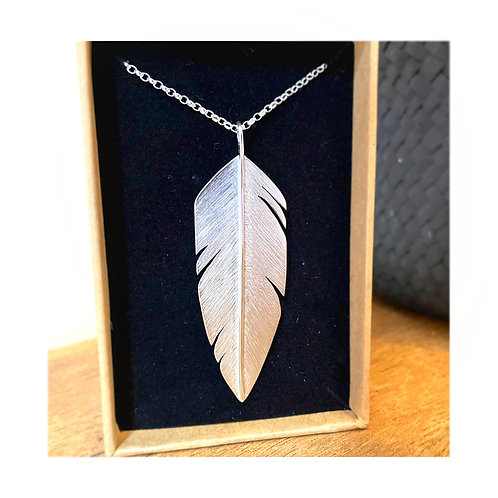 Silver Feather Pendent | 5.5cm long| hand engraved | Recycled Silver | Eco | Hol