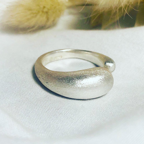 Silver asymmetric wave ring, tactile, frosted, textured, birthday, gift, unisex,