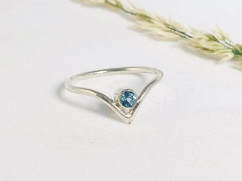 Sky Blue Topaz, Silver wishbone/chevron Ring, tourmaline, amethyst, garnet cubic