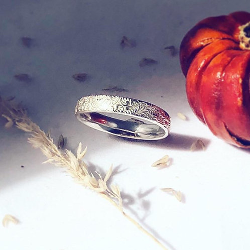 Nature patterned silver statement ring textured, birthday, autumn gift wedding e