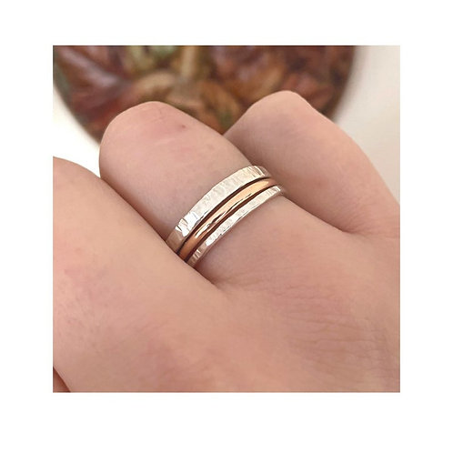 Promise trio | Rose gold, Hammered silver stacker rings | 9ct Gold | thin | thic