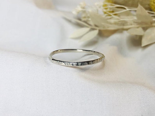 Textured Silver stacker ring, 1.5mm thin hammered, woodland tree inspired. Minim