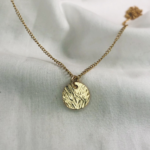 Pampas grass textured 18ct gold necklace. Dainty. Rolled gold
