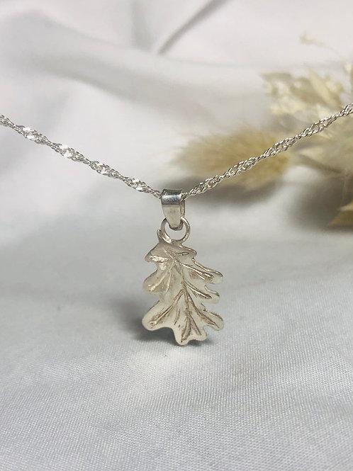 Oak leaf silver pendent necklace. Had engraved. Autumn. Nature, simple, leaf sol