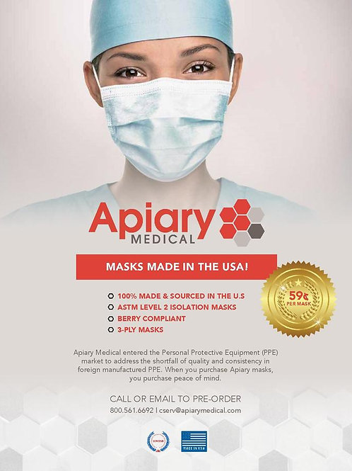 Apiary Medical, facemasks, sold by the case