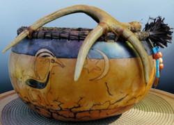 Gourd art - Desert Scene