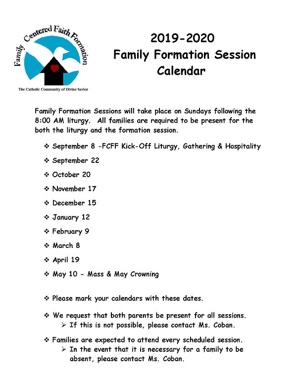FCFF 2019-2020 Family Session Calendar (