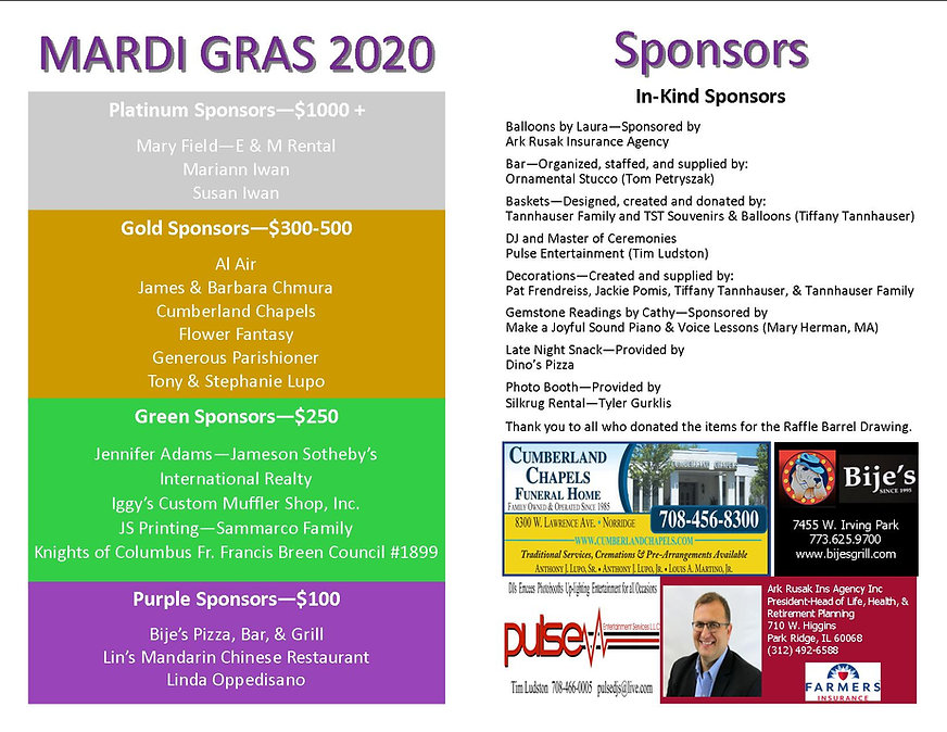 Mardi Gras program 2020 condensed in kin