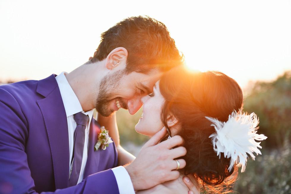 Sonnenuntergang mit Brautpaar